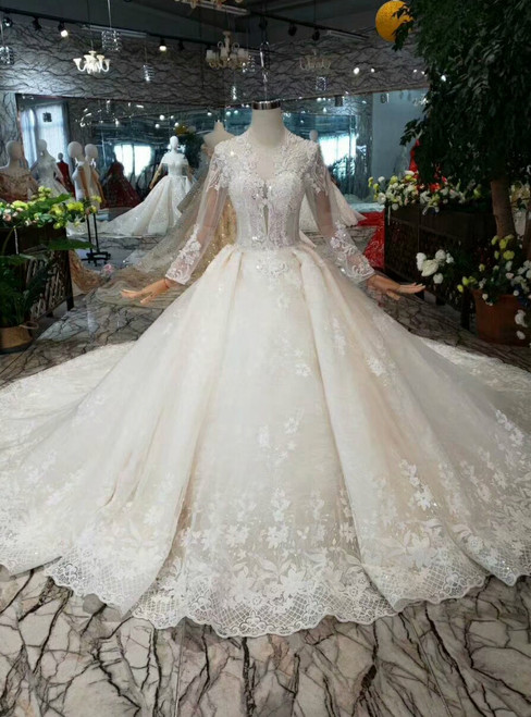 Marvelous Champagne Ball Gown Tulle Lace Appliques Long Sleeve Wedding Dress With Train