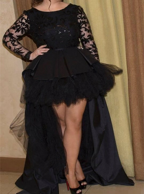 Black Plus Size High Low Dress With Long Sleeves Prom Dress