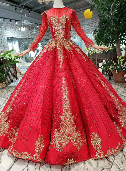 Red Ball Gown Sequins Gold Sequins Long Sleeve Floor Length Princess Dress