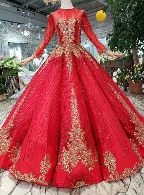 Red Ball Gown Sequins Gold Sequins Long Sleeve Floor Length Princess Dress