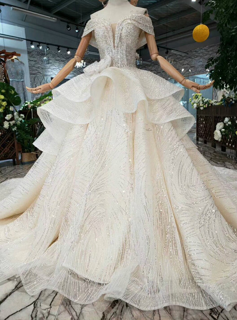 Champagne Ball Gown Tulle Sequins Off The Shoulder Wedding Dress With Bow