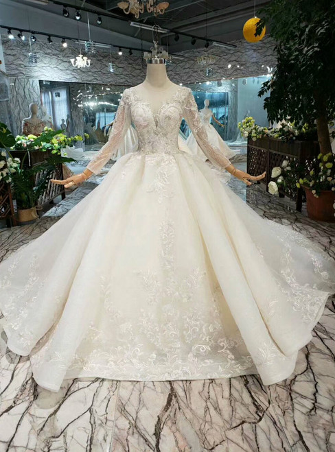 Champagne Ball Gown Tulle Appliques Long Sleeve With Beading Wedding Dress