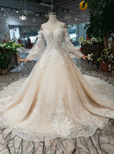 Champagne Ball Gown Tulle Sequins Spaghetti Straps Appliques Wedding Dress