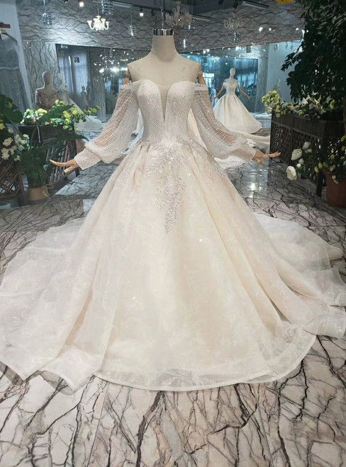 Champagne Ball Gown Tulle Off The Shoulder Long Sleeve Wedding Dress