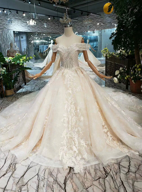 Champagne Ball Gown Lace Appliques Beading Wedding Dress With Long Train