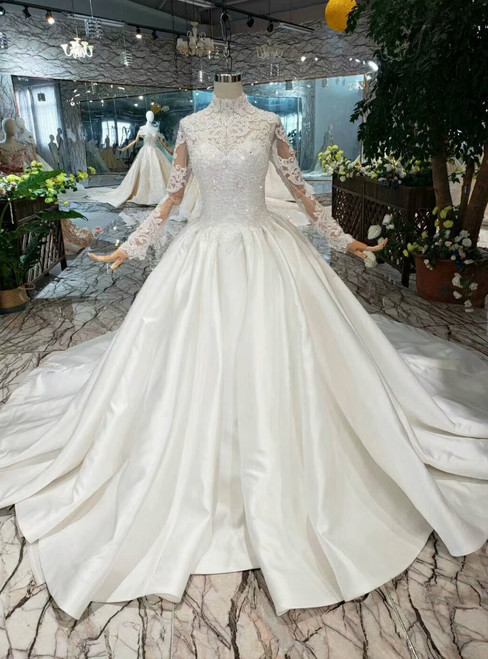 Ivory White Satin Applique High Neck Long Sleeve Beading Wedding Dress