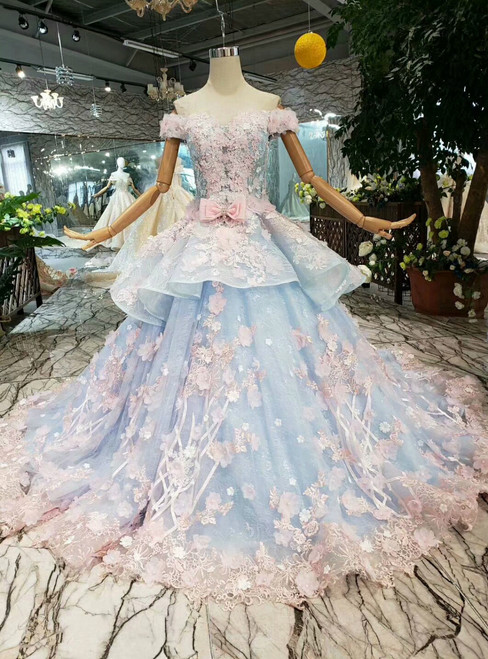 Blue Ball Gown Tulle Pink Flower Off the Shoulder Wedding Dress