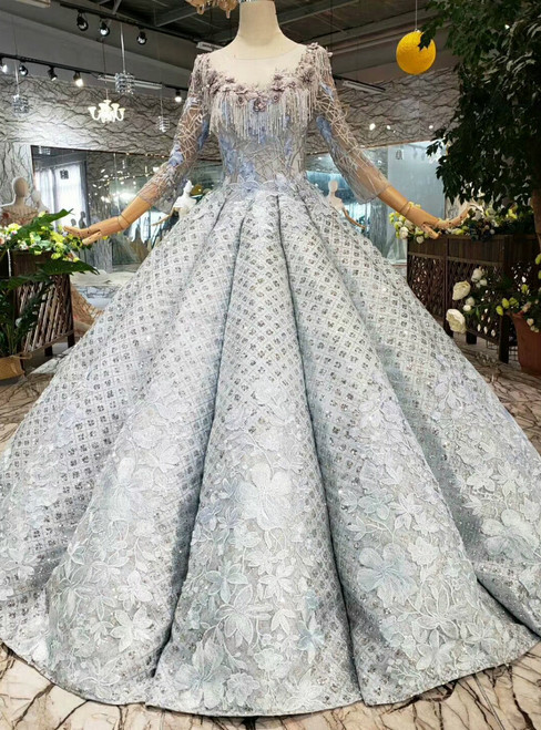 Silver Gray Sequins Long Sleeve Embroidery Appliques Wedding Dress With Beading