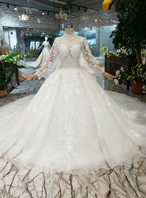 Ivory White Ball Gown Tulle Appliques High Neck Long Sleeve Wedding Dress