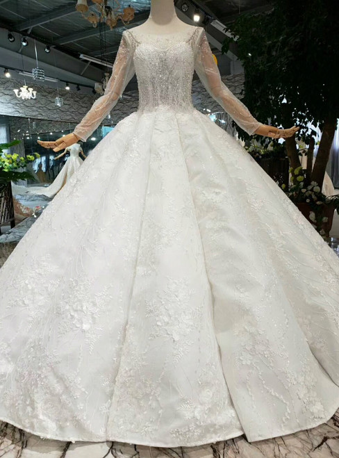 Ivory White Ball Gown Appliques Bateau Long Sleeve Floor Length Wedding Dress