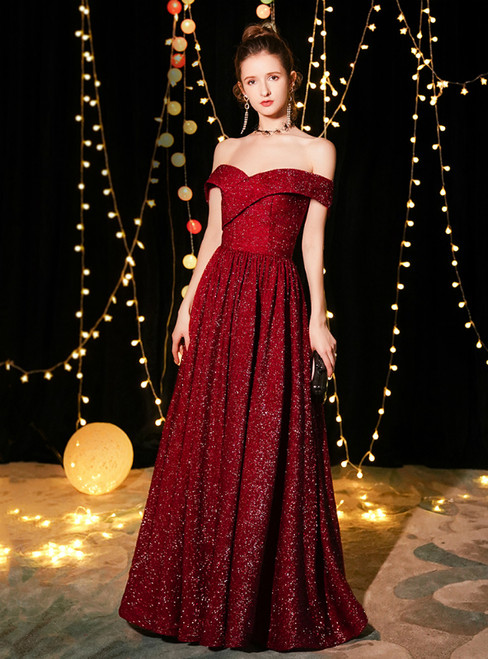 In Stock:Ship in 48 Hours A-Line Burgundy Sequins Off The Shoulder Prom Dress