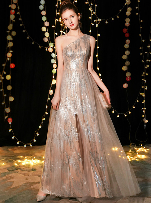 In Stock:Ship in 48 Hours Champagne Tulle Sequins One Shoulder Prom Dress With Split