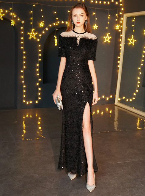 In Stock:Ship in 48 Hours Black Mermaid Sequins Short Sleeve Prom Dress