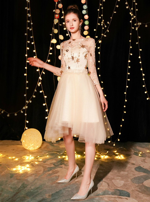 In Stock:Ship in 48 Hours Champagne Tulle Long Sleeve Backless Homecoming Dress