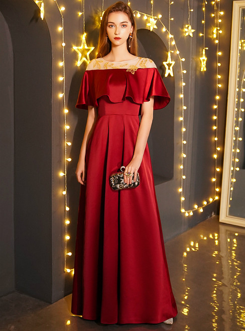 In Stock:Ship in 48 Hours Red Satin Prom Dress With Beading