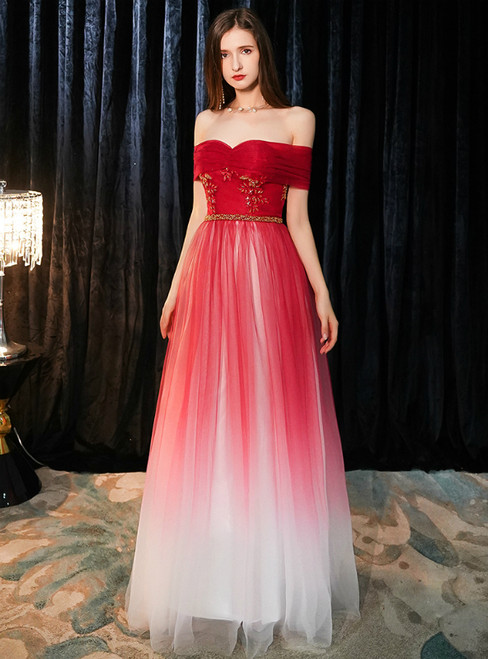 In Stock:Ship in 48 Hours Red Tulle Off the Shoulder Prom Dress
