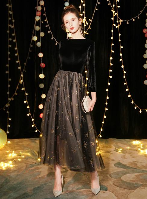 In Stock:Ship in 48 Hours Black Tulle Velvet Long Sleeve Prom Dress