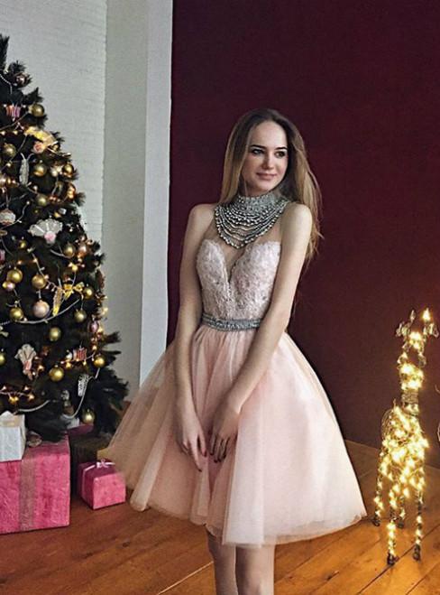2017 Short Pink Prom Dress Homecoming Dress  Beads High Neck Prom Dress