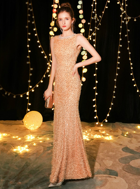 In Stock:Ship in 48 Hours Gold Mermaid Sequins Long Prom Dress