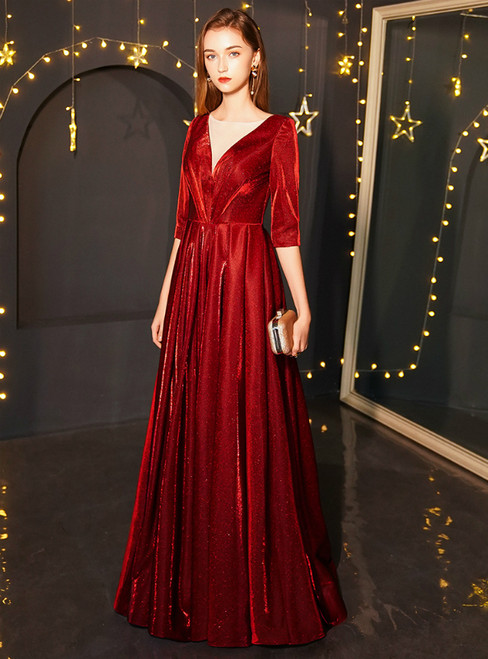 In Stock:Ship in 48 Hours Burgundy See Through V-neck Backless Prom Dress