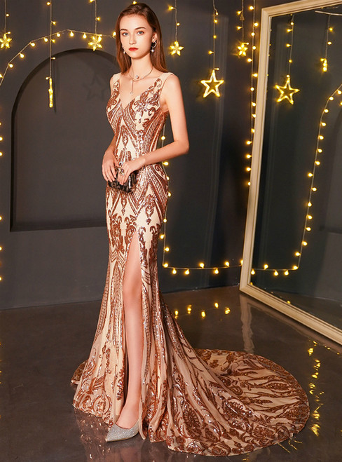 In Stock:Ship in 48 Hours Champagne Gold Sequins V-neck Prom Dress