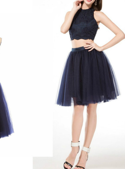 Two Pieces Prom Dress  homecoming dress,short prom dress beading prom dress