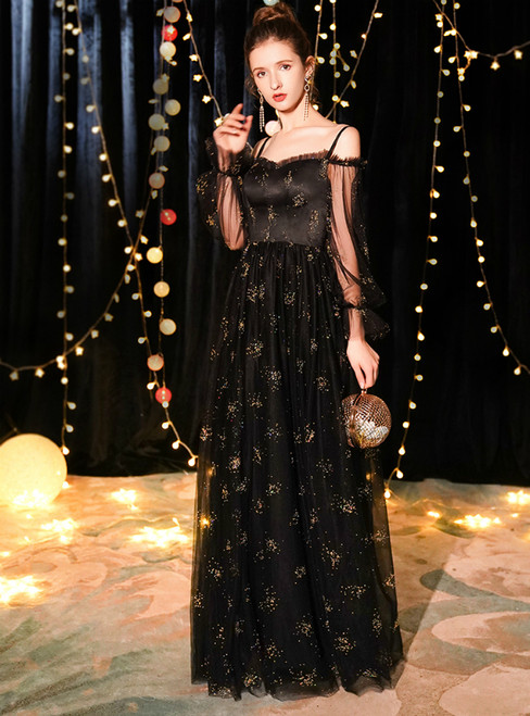 In Stock:Ship in 48 Hours Black Tulle Long Sleeve Prom Dress