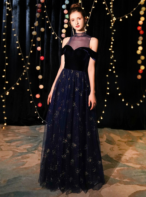 In Stock:Ship in 48 Hours Navy Blue Tulle High Neck Prom Dress