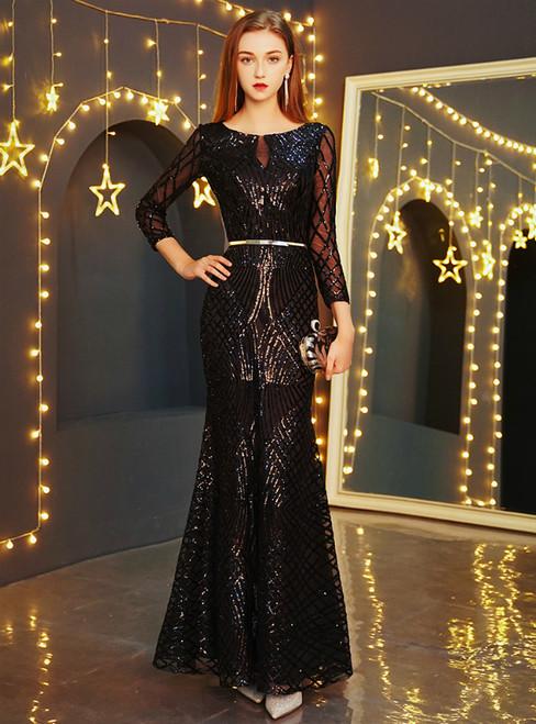 In Stock:Ship in 48 Hours Black Mermaid Sequins Long Sleeve Prom Dress