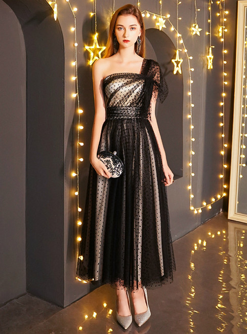 In Stock:Ship in 48 Hours Black Tulle One Shoulder Ankle Length Prom Dress