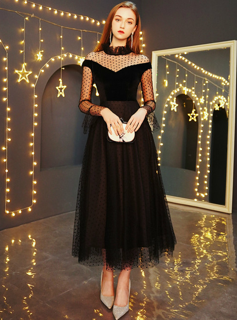 In Stock:Ship in 48 Hours Black Tulle Tulle Long Sleeve Prom Dress