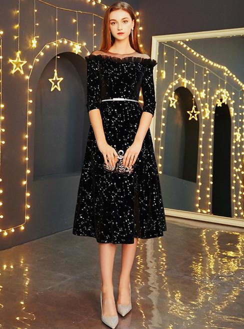 In Stock:Ship in 48 Hours Black Velvet Half Sleeve Prom Dress With Sash
