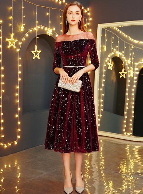 In Stock:Ship in 48 Hours Burgundy Velvet Half Sleeve Prom Dress With Sash