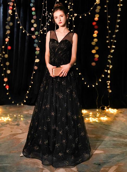 In Stock:Ship in 48 Hours Black Tulle V-neck Long Prom Dress