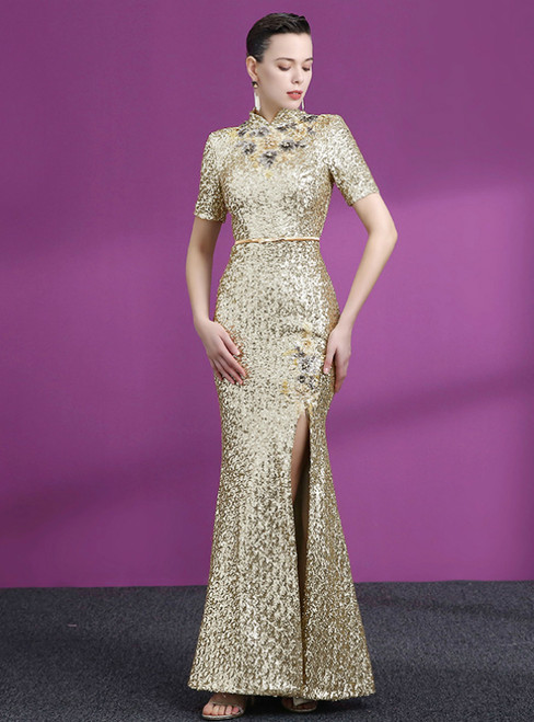 Gold Mermaid Sequins High Neck Short Sleeve Appliques Mother Of The Bride Dress