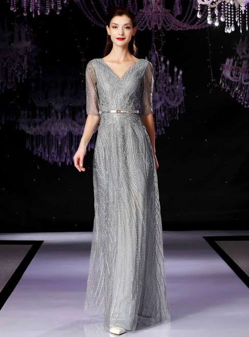 A-Line Silver Gray Sequins V-neck Half Sleeve Mother Of The Bride Dress
