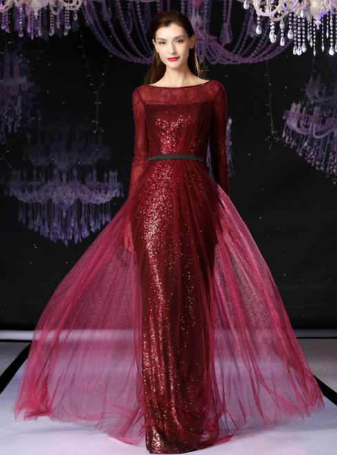 A-Line Burgundy Tulle Sequins Long Sleeve Mother Of The Bride Dress