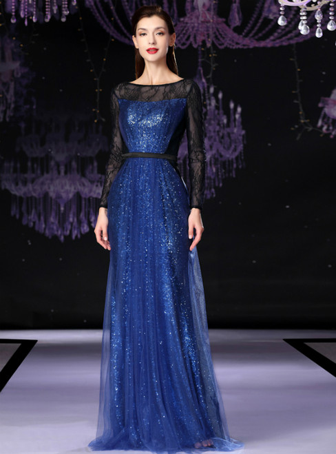 A-Line Blue Tulle Sequins Long Sleeve Mother Of The Bride Dress
