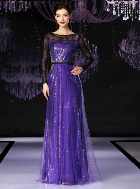 A-Line Purple Tulle Sequins Long Sleeve Mother Of The Bride Dress