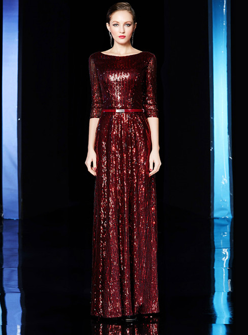 A-Line Burgundy Sequins Half Sleeve Long Mother Of The Bride Dress
