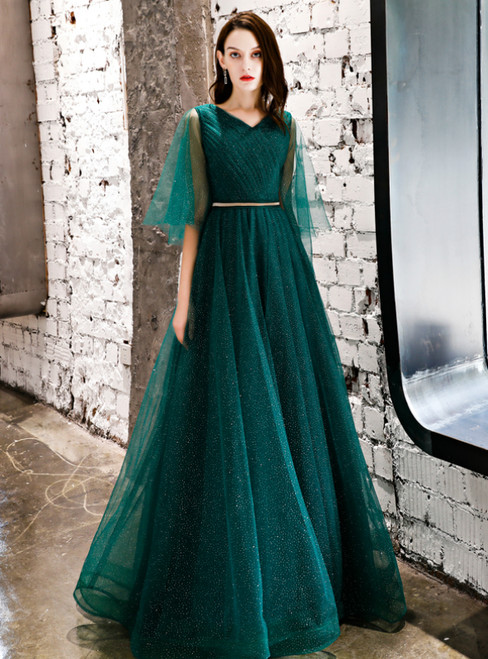 In Stock:Ship in 48 Hours Green Tulle V-neck Sequins Prom Dress