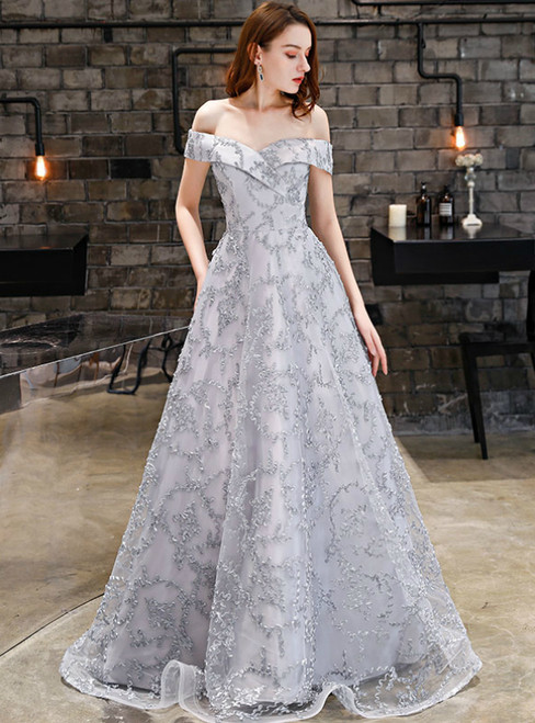 In Stock:Ship in 48 Hours Gray Lace Off the Shoulder Prom Dress