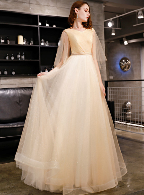 In Stock:Ship in 48 Hours Champagne Tulle Sequins Long Prom Dress