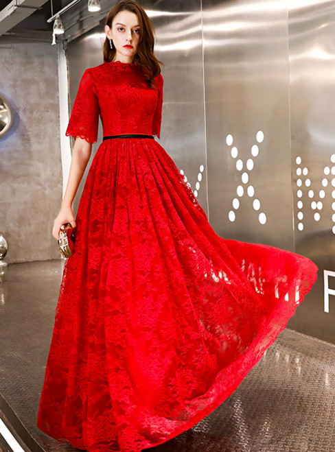 In Stock:Ship in 48 Hours Red Lace Short Sleeve Long Prom Dress
