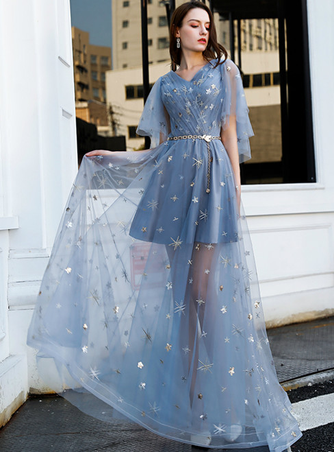 In Stock:Ship in 48 Hours Blue Tulle V-neck Flying Sleeve Prom Dress