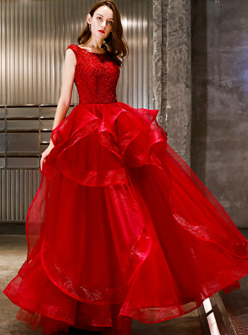 In Stock:Ship in 48 Hours Red Tulle Backless Long Prom Dress