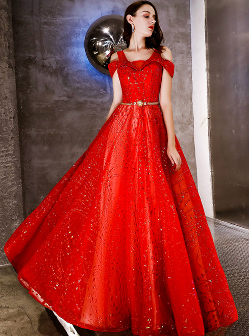 In Stock:Ship in 48 Hours Red Tulle Sequins Prom Dress With Sash