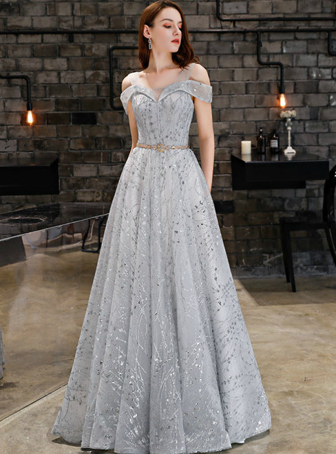 In Stock:Ship in 48 Hours Gray Tulle Sequins Prom Dress With Sash