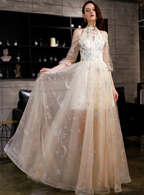 In Stock:Ship in 48 Hours Champagne Tulle Half Sleeve Prom Dress