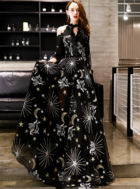 In Stock:Ship in 48 Hours Black Tulle Half Sleeve Prom Dress